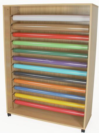 Mueble para rollos de papel con ruedas material escolar for Muebles para papeleria
