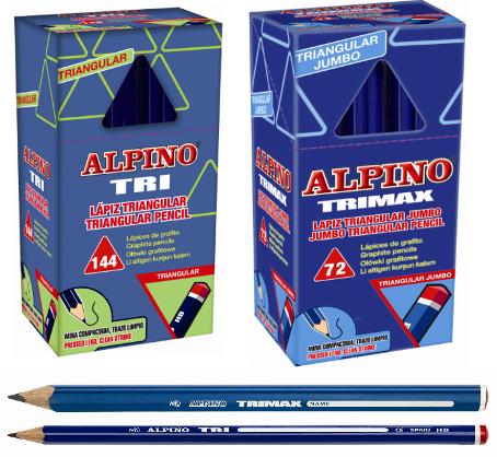 Lápices Triangulares Alpino Tri finos y Trimax gruesos