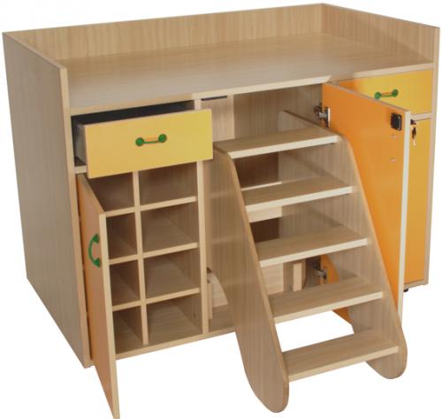 Mueble Cambiador con Escalera 3 Puertas