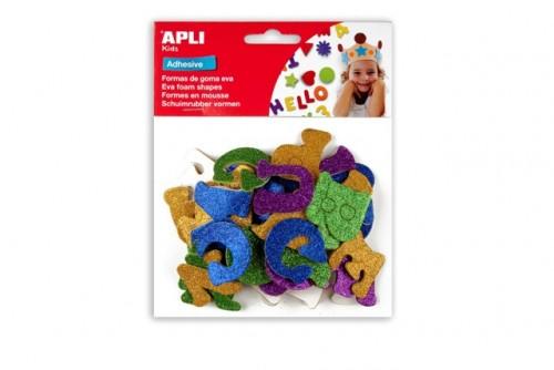 Figuras Eva adhesivas con purpurina letras
