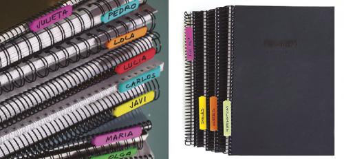 Identificadores de cuadernos espiral