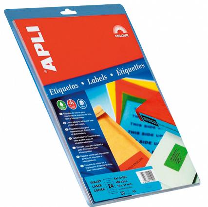 Etiquetas Adhesivas de colores Apli A-4