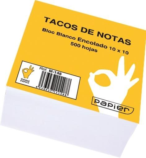 Tacos de Notas Encolado Blanco