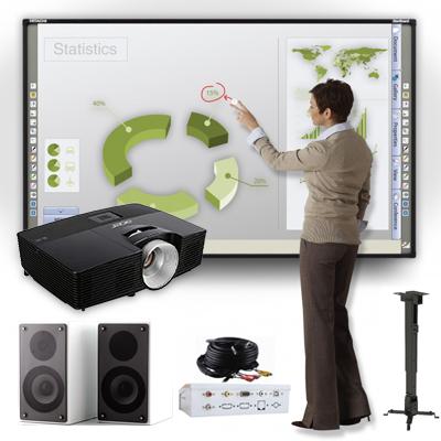 Pack Pizarra Interactiva Hitachi + Proyector Acer + Soporte + Altavoces + Caja Conexiones