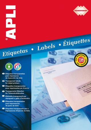 Etiquetas Transparentes para Inkjet Apli